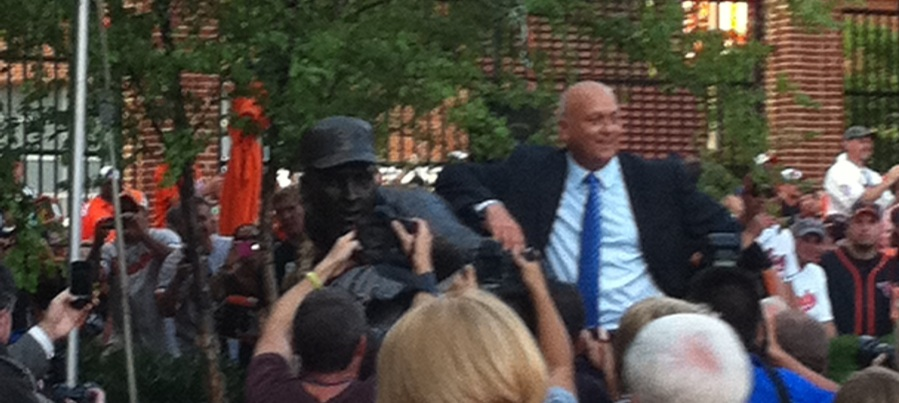 Cal with his statue